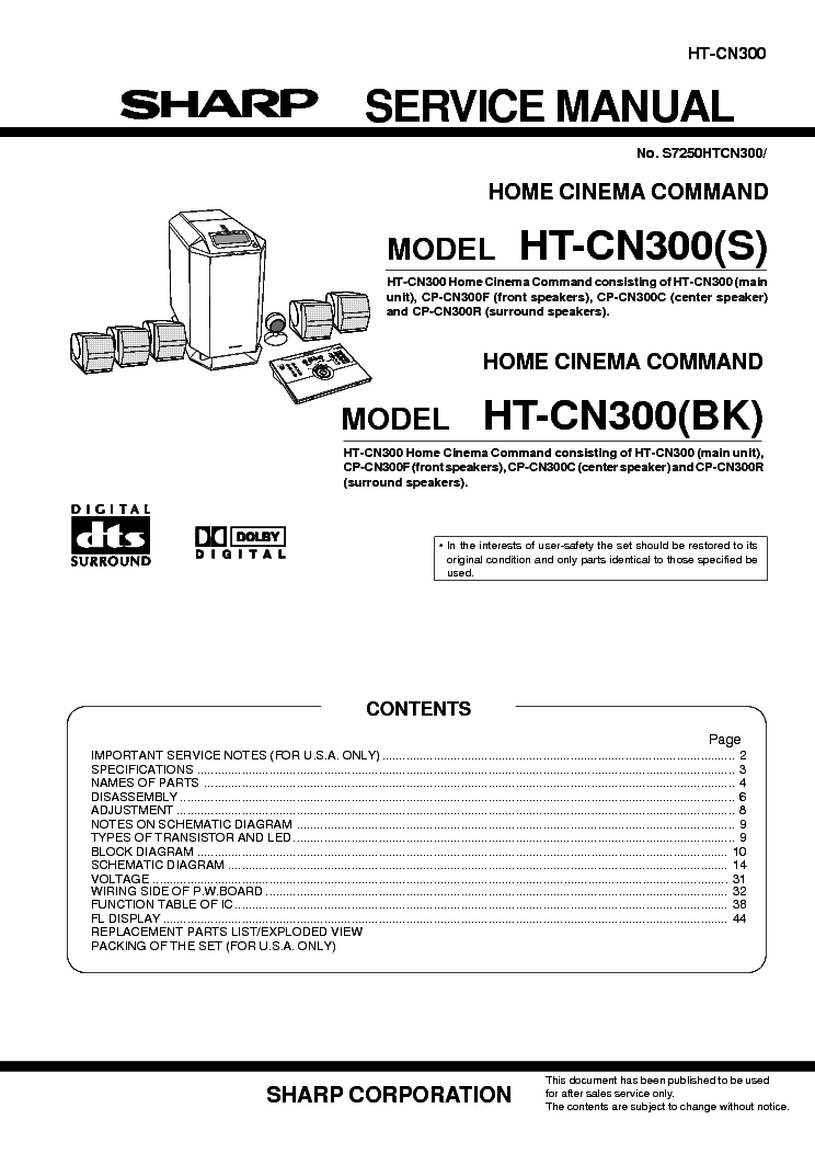 SHARP HT-CN300[S][BK] Service Manual download, schematics